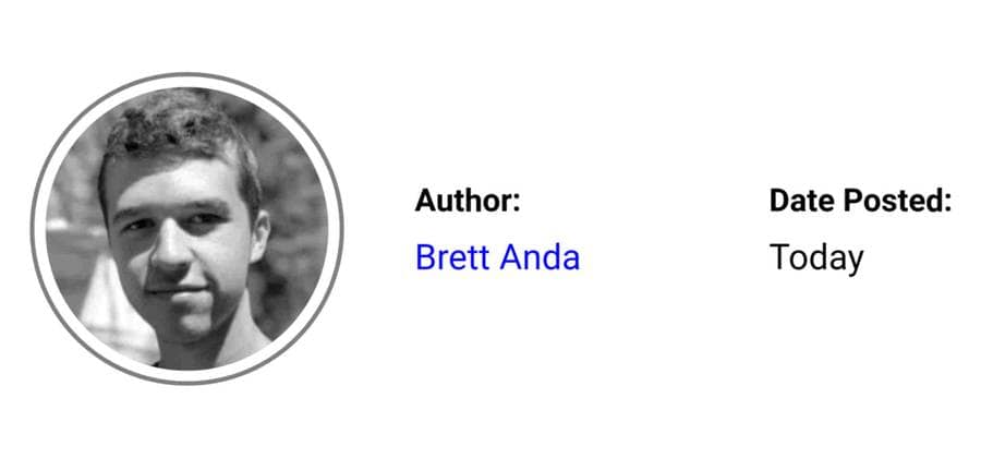 A simple author byline for Brett Anda