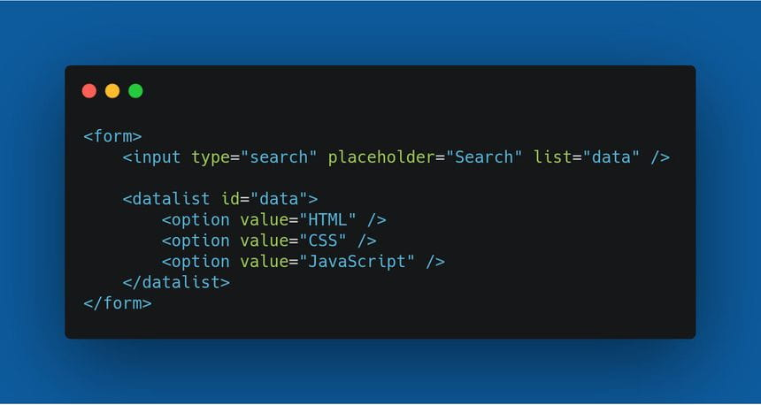 The example code for a datalist search form