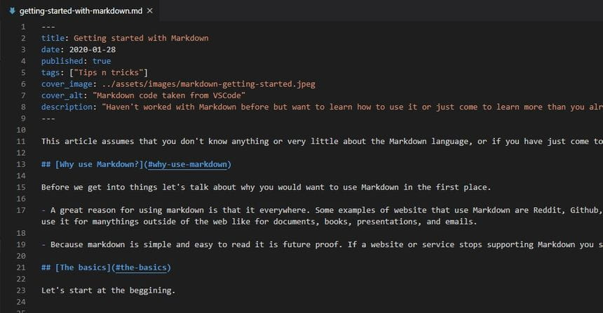 Markdown code take from VSCode